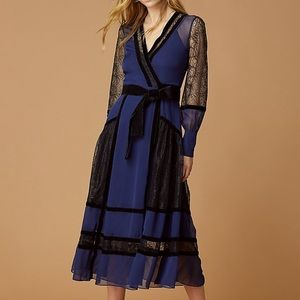 DVF Forrest Silk Wrap Dress Navy